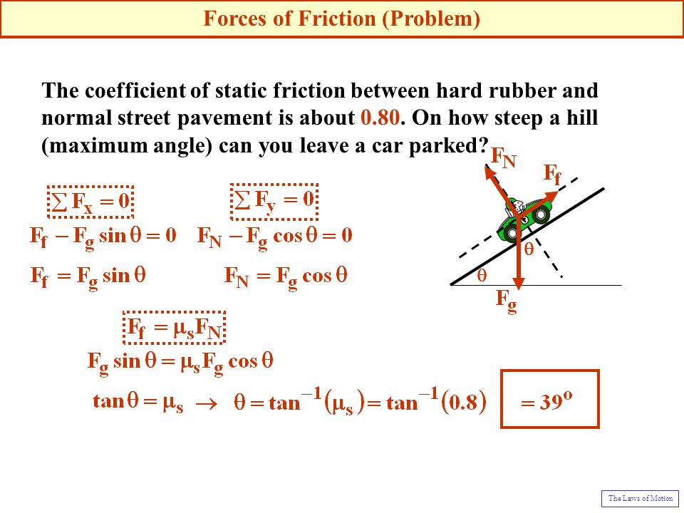 The coefficient of static friction between hard rubber and normal street pavement is about 0.80. On how steep a hill (maximum angle) can you leave a c