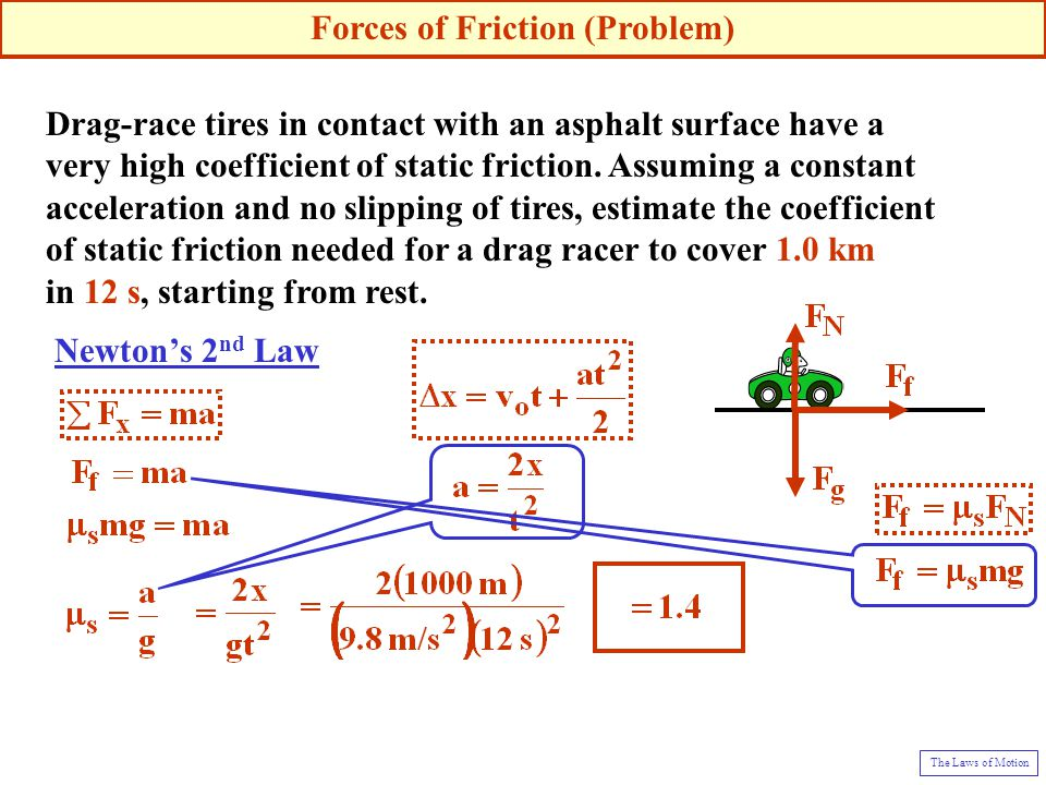 Drag-race tires in contact with an asphalt surface have a very high coefficient of static friction.