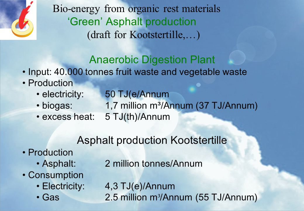 Bio-energy from organic rest materials 'Green' Asphalt production (draft for Kootstertille,…) Anaerobic Digestion Plant Input: 40.000 tonnes fruit was