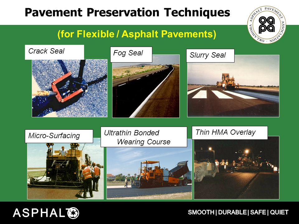 Pavement Preservation Techniques Micro-Surfacing Crack Seal Fog Seal Thin HMA Overlay Slurry Seal Ultrathin Bonded Wearing Course (for Flexible / Asphalt Pavements)