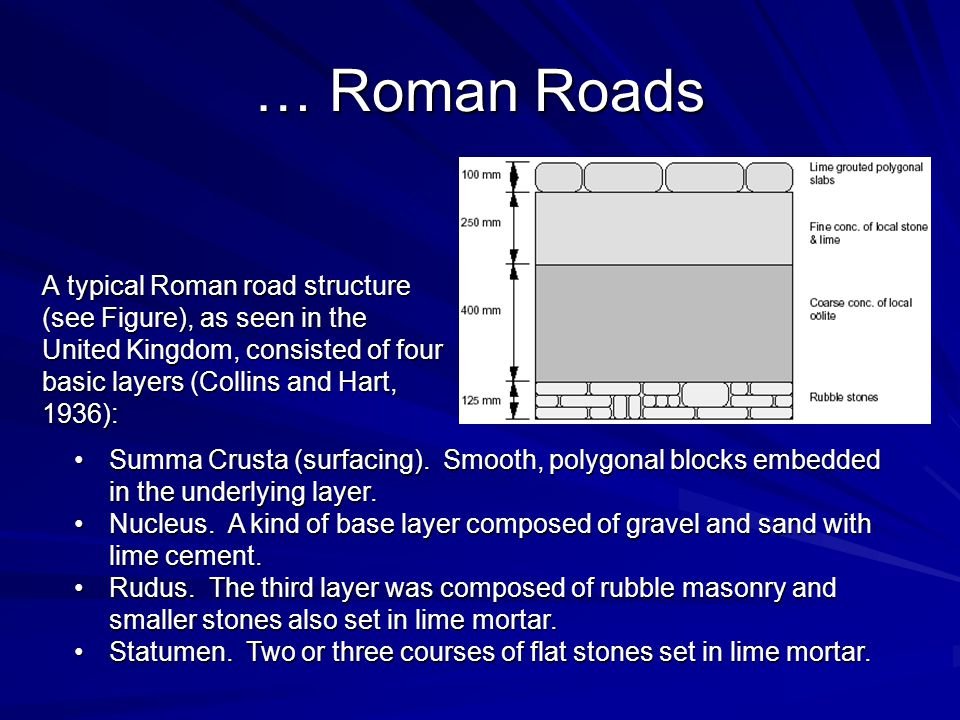 … Roman Roads A typical Roman road structure (see Figure), as seen in the United Kingdom, consisted of four basic layers (Collins and Hart, 1936): Summa Crusta (surfacing).