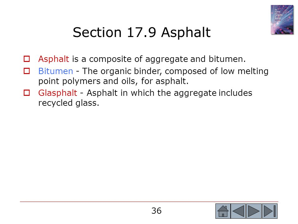 36  Asphalt is a composite of aggregate and bitumen.