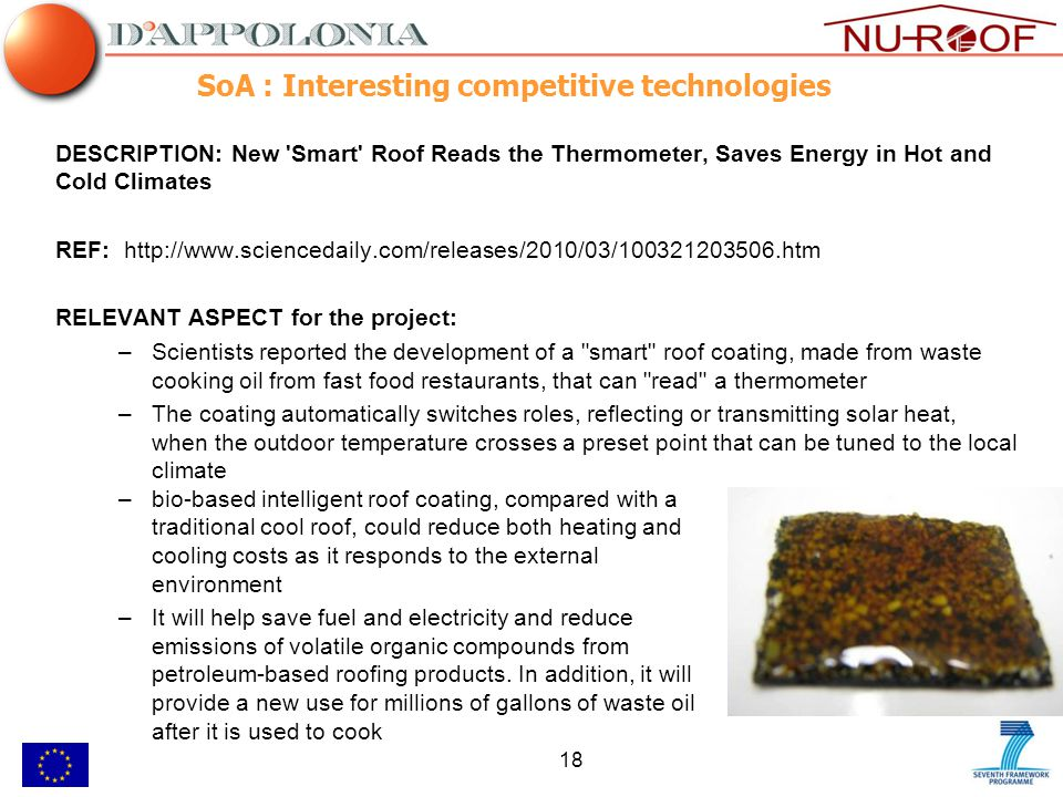 18 SoA : Interesting competitive technologies DESCRIPTION: New Smart Roof Reads the Thermometer, Saves Energy in Hot and Cold Climates REF: http://www.sciencedaily.com/releases/2010/03/100321203506.htm RELEVANT ASPECT for the project: –Scientists reported the development of a smart roof coating, made from waste cooking oil from fast food restaurants, that can read a thermometer –The coating automatically switches roles, reflecting or transmitting solar heat, when the outdoor temperature crosses a preset point that can be tuned to the local climate –bio-based intelligent roof coating, compared with a traditional cool roof, could reduce both heating and cooling costs as it responds to the external environment –It will help save fuel and electricity and reduce emissions of volatile organic compounds from petroleum-based roofing products.