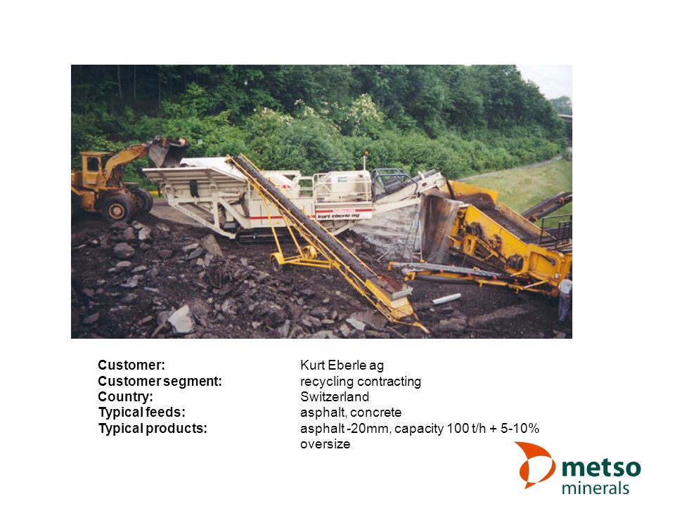 Customer:Kurt Eberle ag Customer segment:recycling contracting Country:Switzerland Typical feeds:asphalt, concrete Typical products:asphalt -20mm, capacity 100 t/h + 5-10% oversize