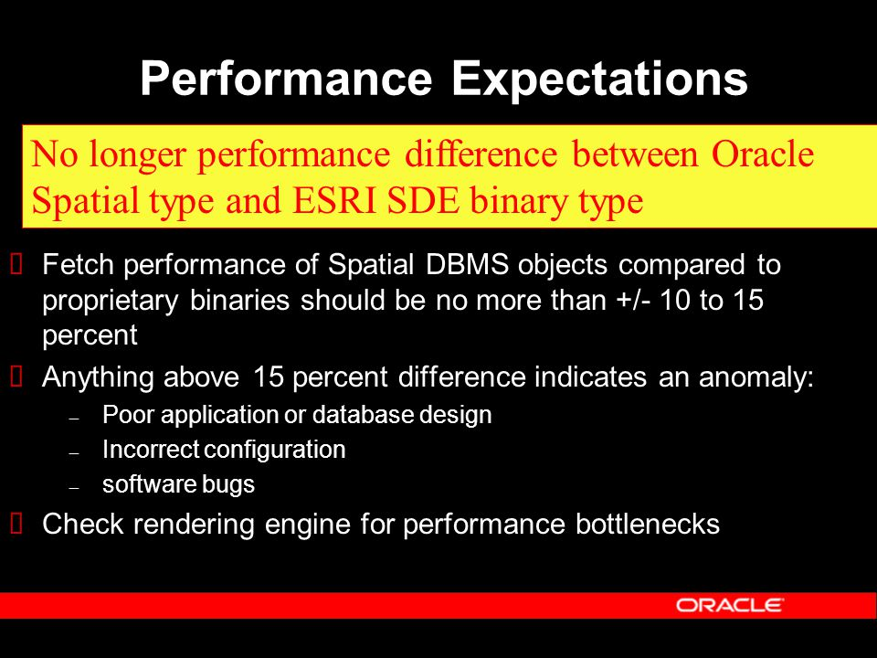 Performance Expectations  Fetch performance of Spatial DBMS objects compared to proprietary binaries should be no more than +/- 10 to 15 percent  Anything above 15 percent difference indicates an anomaly: – Poor application or database design – Incorrect configuration – software bugs  Check rendering engine for performance bottlenecks No longer performance difference between Oracle Spatial type and ESRI SDE binary type