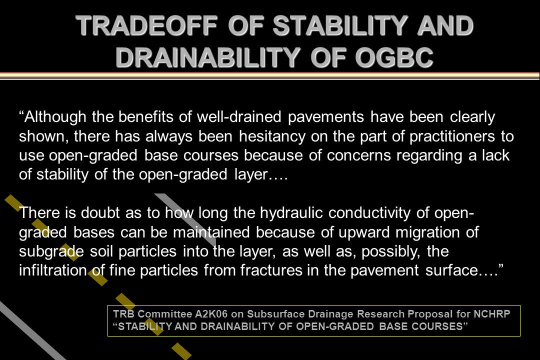 """""""Although the benefits of well-drained pavements have been clearly shown, there has always been hesitancy on the part of practitioners to use open-gra"""