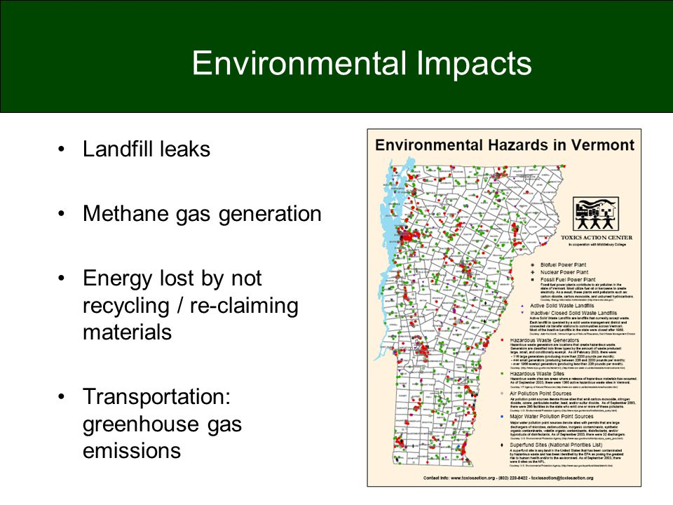 Environmental Impacts Landfill leaks Methane gas generation Energy lost by not recycling / re-claiming materials Transportation: greenhouse gas emissi