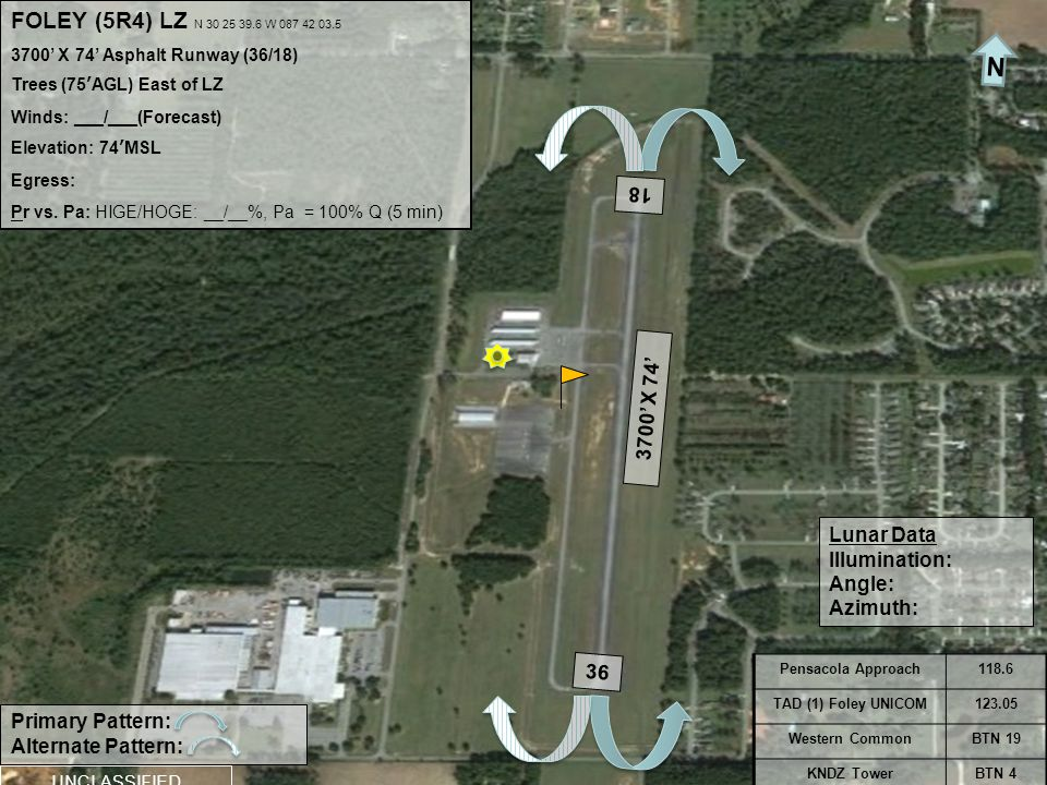 FOLEY (5R4) LZ N 30 25 39.6 W 087 42 03.5 3700' X 74' Asphalt Runway (36/18) Trees (75'AGL) East of LZ Winds: ___/___(Forecast) Elevation: 74'MSL Egress: Pr vs.