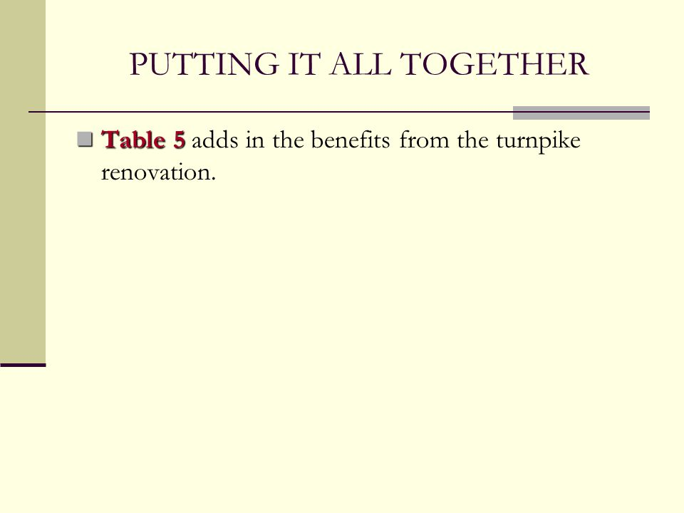 PUTTING IT ALL TOGETHER Table 5 Table 5 adds in the benefits from the turnpike renovation.