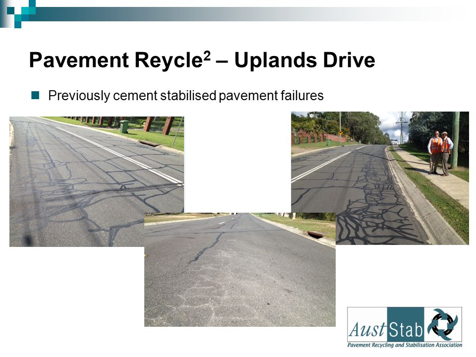 Pavement Reycle 2 – Uplands Drive During construction, second time In-Situ Cement Stabilisation 2012