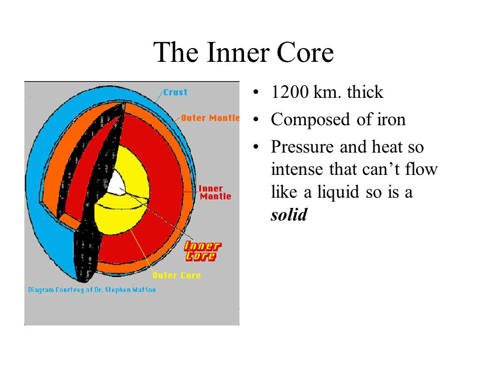 The Inner Core The inner core of the Earth has temperatures and pressures so great that the metals are squeezed together and are not able to move about like a liquid, but are forced to vibrate in place like a solid.