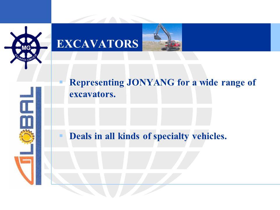 EXCAVATORS  Representing JONYANG for a wide range of excavators.