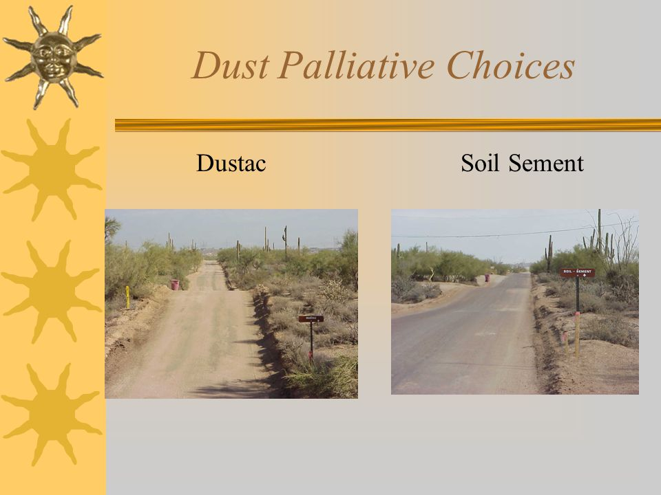 Dust Palliative Choices DustacSoil Sement
