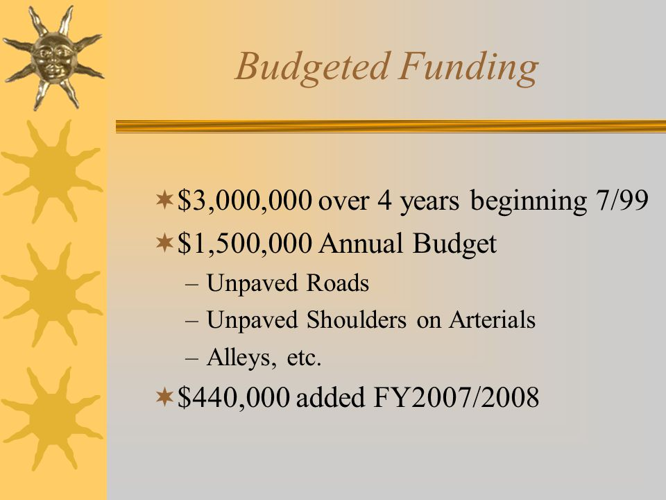 Budgeted Funding  $3,000,000 over 4 years beginning 7/99  $1,500,000 Annual Budget –Unpaved Roads –Unpaved Shoulders on Arterials –Alleys, etc.