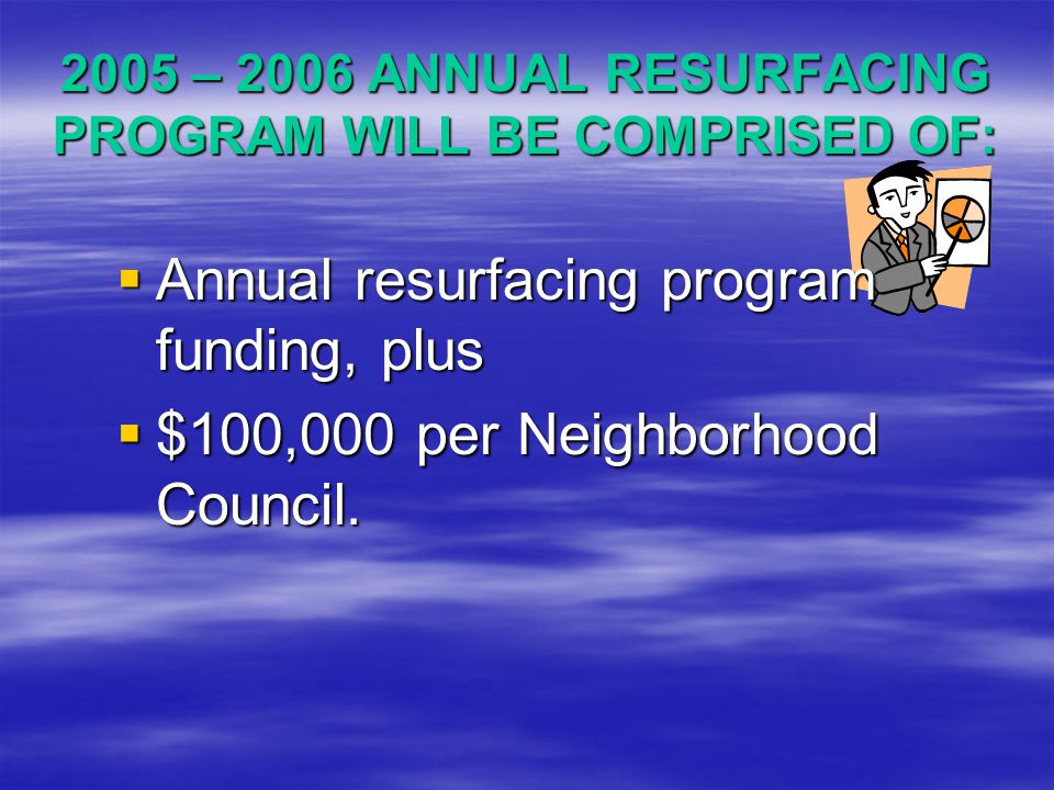 2005 – 2006 ANNUAL RESURFACING PROGRAM WILL BE COMPRISED OF:  Annual  Annual resurfacing program funding, plus  $100,000  $100,000 per Neighborhood Council.