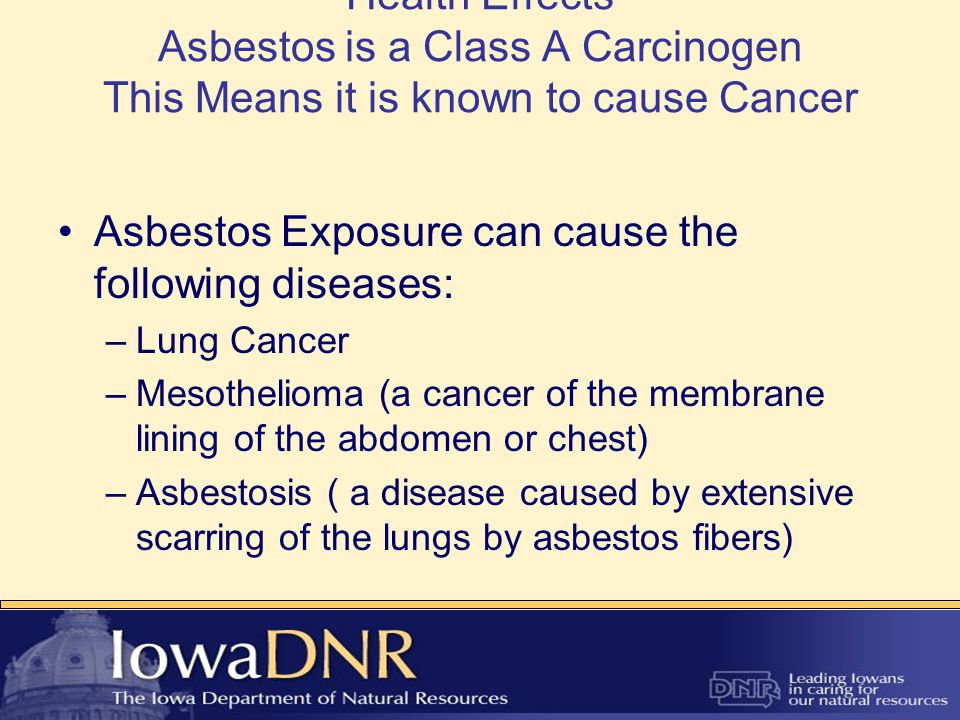 Health Effects Asbestos is a Class A Carcinogen This Means it is known to cause Cancer Asbestos Exposure can cause the following diseases: –Lung Cancer –Mesothelioma (a cancer of the membrane lining of the abdomen or chest) –Asbestosis ( a disease caused by extensive scarring of the lungs by asbestos fibers)