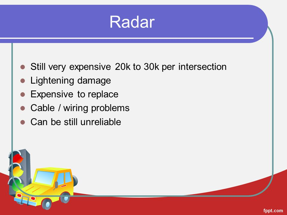 Radar Still very expensive 20k to 30k per intersection Lightening damage Expensive to replace Cable / wiring problems Can be still unreliable