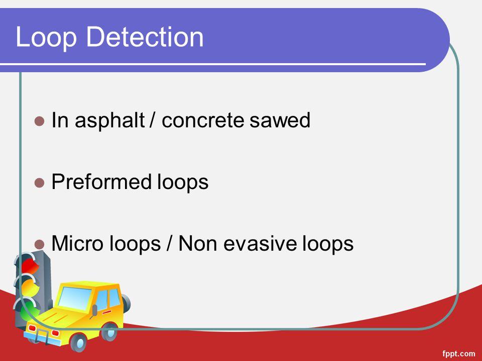 In asphalt / concrete sawed Preformed loops Micro loops / Non evasive loops