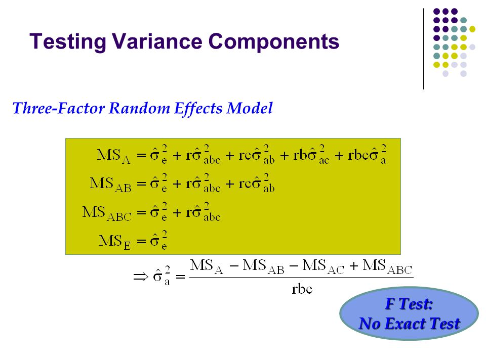 Testing Variance Components Three-Factor Random Effects Model F Test: No Exact Test