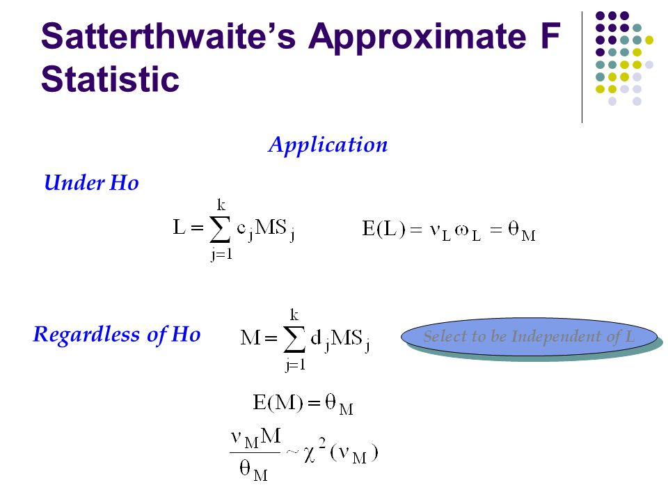 Satterthwaite's Approximate F Statistic Application Select to be Independent of L Regardless of Ho Under Ho