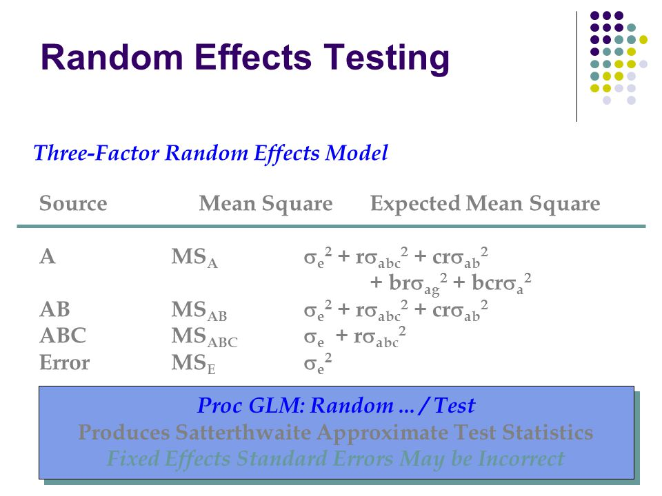 Random Effects Testing Three-Factor Random Effects Model Source Mean SquareExpected Mean Square AMS A  e 2 + r  abc  + cr  ab  + br  ag  + bcr  a  ABMS AB  e 2 + r  abc  + cr  ab  ABCMS ABC  e + r  abc  ErrorMS E  e 2 Proc GLM: Random...