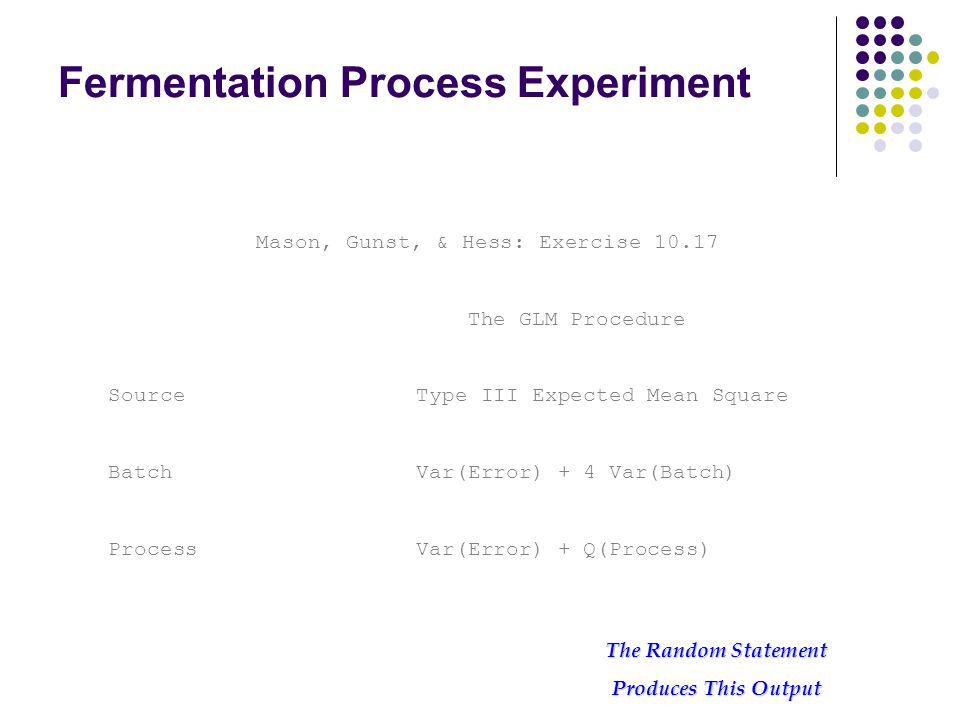 Fermentation Process Experiment Mason, Gunst, & Hess: Exercise 10.17 The GLM Procedure Source Type III Expected Mean Square Batch Var(Error) + 4 Var(Batch) Process Var(Error) + Q(Process) The Random Statement Produces This Output