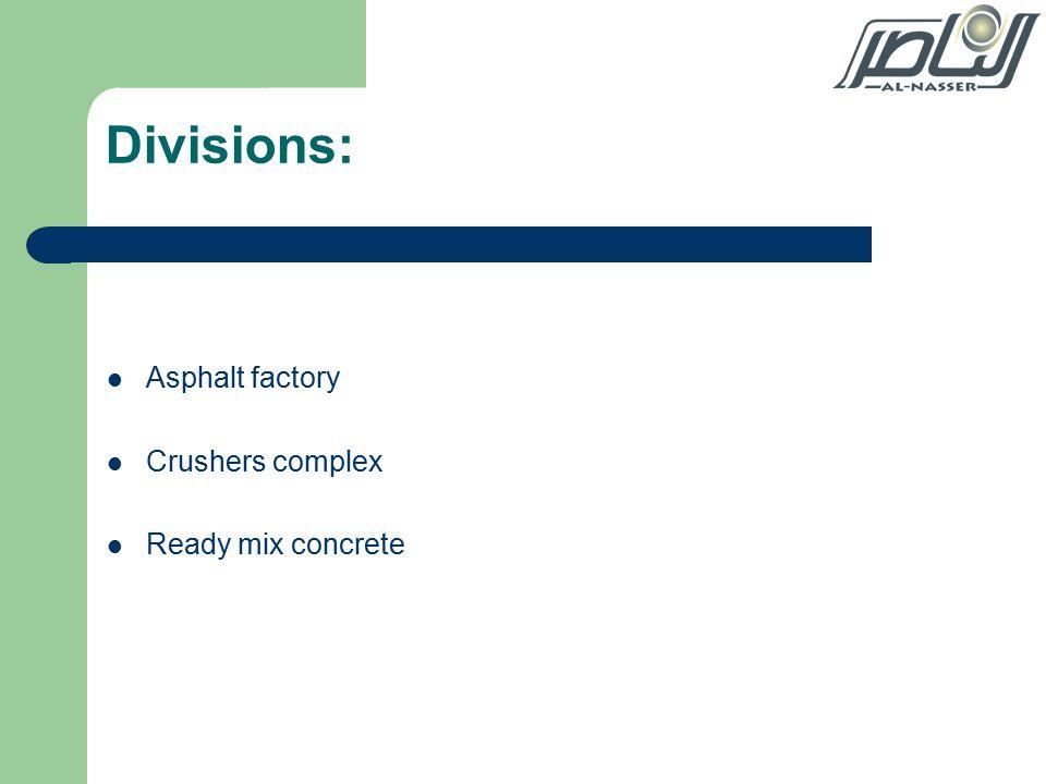 Divisions: Asphalt factory Crushers complex Ready mix concrete