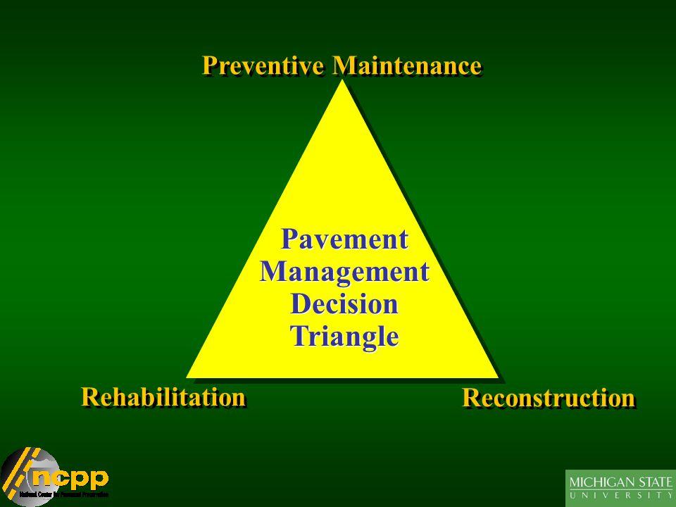 Pavement Management Decision Triangle Pavement Management Decision Triangle Preventive Maintenance Rehabilitation Reconstruction
