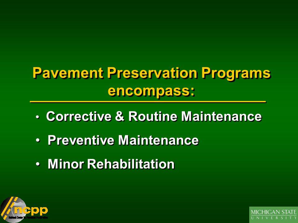 Pavement Preservation Programs encompass: Corrective & Routine Maintenance Preventive Maintenance Minor Rehabilitation Corrective & Routine Maintenance Preventive Maintenance Minor Rehabilitation