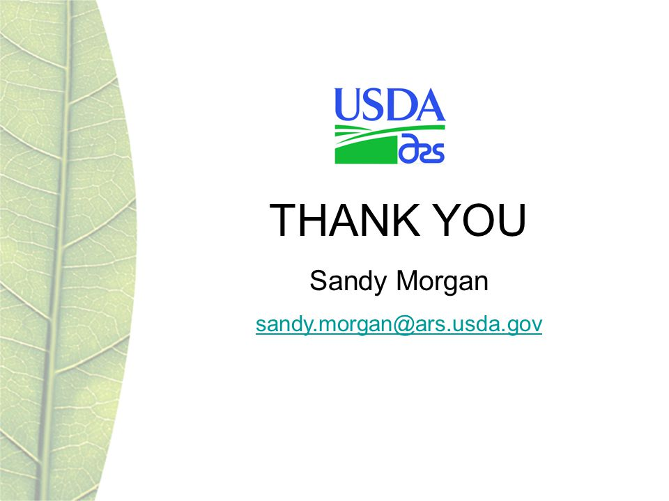 THANK YOU Sandy Morgan sandy.morgan@ars.usda.gov