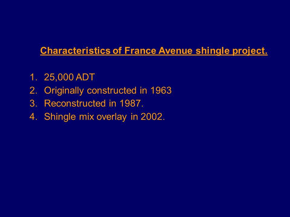 Characteristics of France Avenue shingle project.