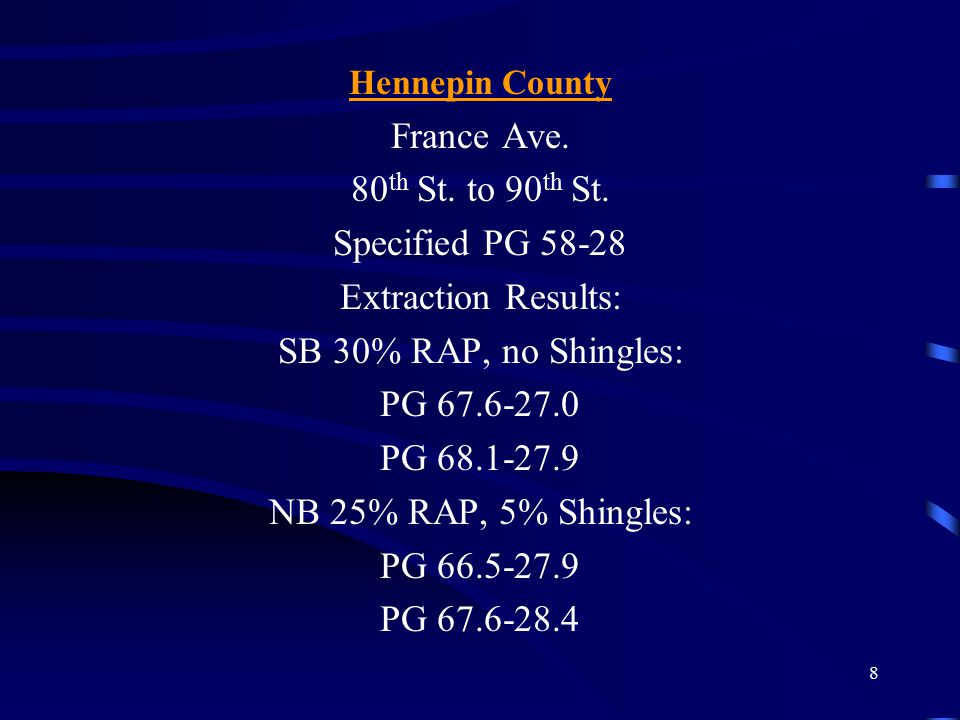 8 Hennepin County France Ave. 80 th St. to 90 th St. Specified PG 58-28 Extraction Results: SB 30% RAP, no Shingles: PG 67.6-27.0 PG 68.1-27.9 NB 25%