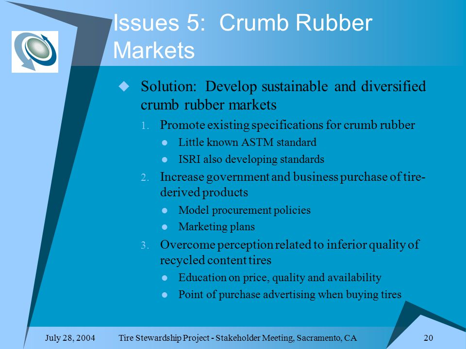 July 28, 2004Tire Stewardship Project - Stakeholder Meeting, Sacramento, CA 20 Issues 5: Crumb Rubber Markets  Solution: Develop sustainable and diversified crumb rubber markets 1.