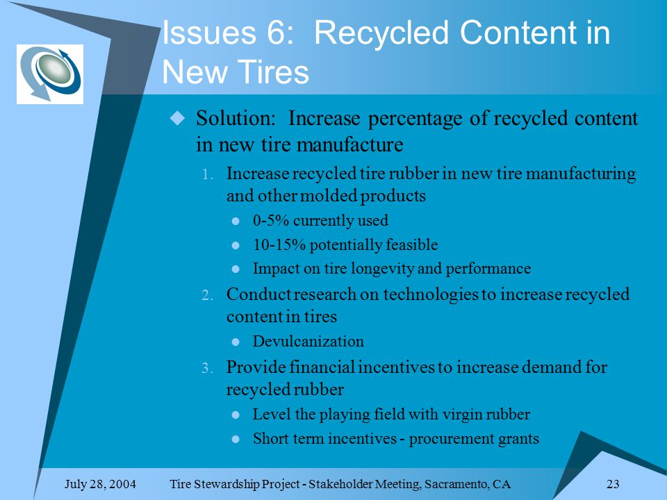 July 28, 2004Tire Stewardship Project - Stakeholder Meeting, Sacramento, CA 23 Issues 6: Recycled Content in New Tires  Solution: Increase percentage of recycled content in new tire manufacture 1.
