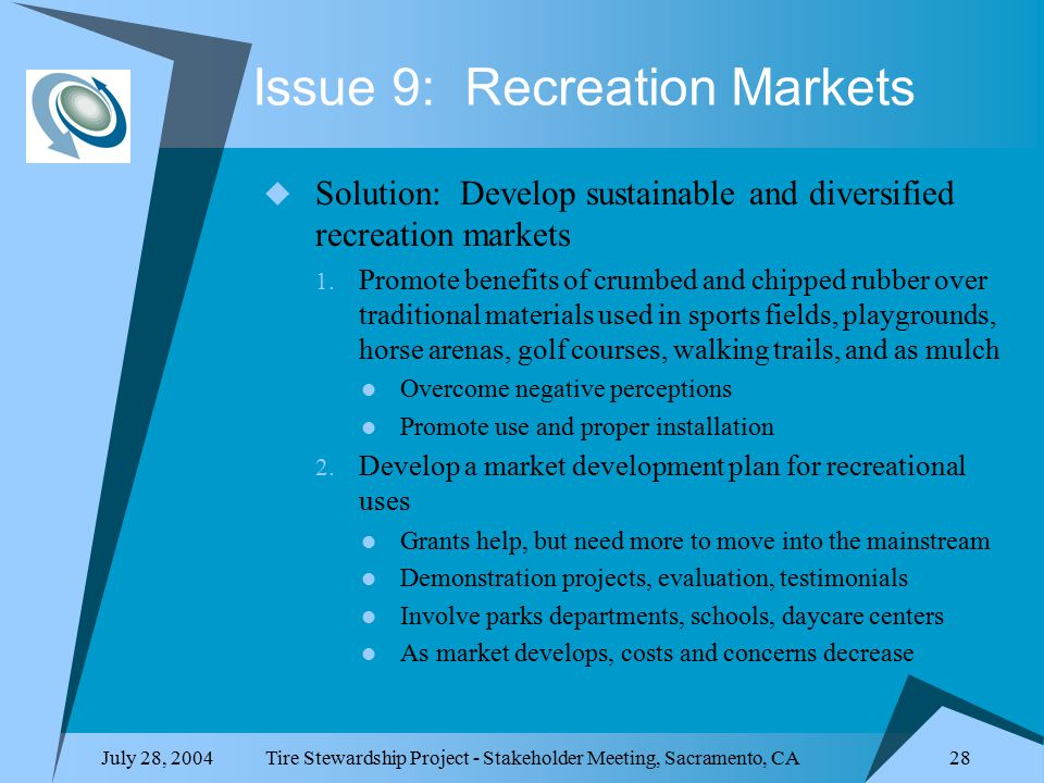 July 28, 2004Tire Stewardship Project - Stakeholder Meeting, Sacramento, CA 28 Issue 9: Recreation Markets  Solution: Develop sustainable and diversified recreation markets 1.