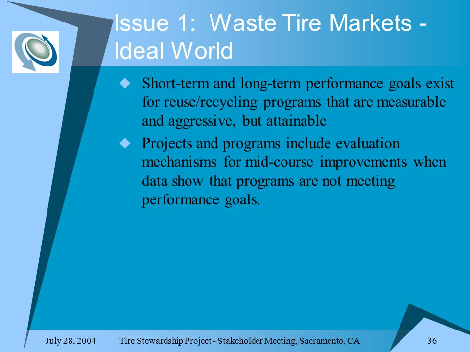 July 28, 2004Tire Stewardship Project - Stakeholder Meeting, Sacramento, CA 36 Issue 1: Waste Tire Markets - Ideal World  Short-term and long-term performance goals exist for reuse/recycling programs that are measurable and aggressive, but attainable  Projects and programs include evaluation mechanisms for mid-course improvements when data show that programs are not meeting performance goals.