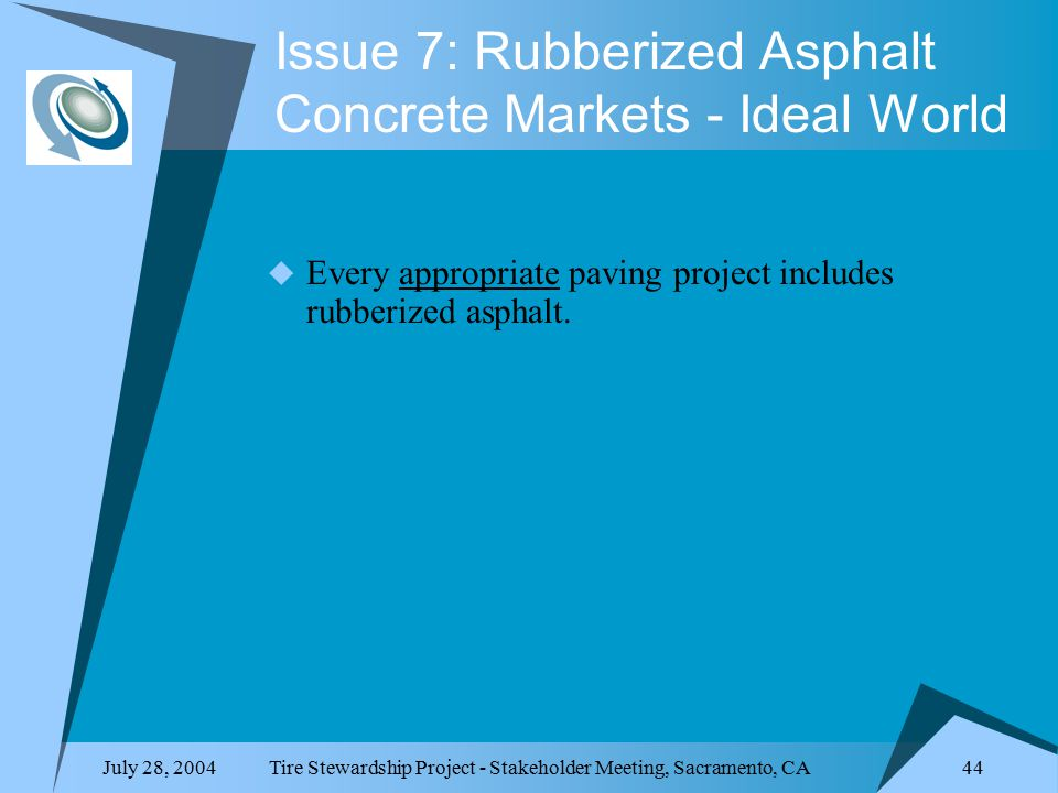 July 28, 2004Tire Stewardship Project - Stakeholder Meeting, Sacramento, CA 44 Issue 7: Rubberized Asphalt Concrete Markets - Ideal World  Every appropriate paving project includes rubberized asphalt.
