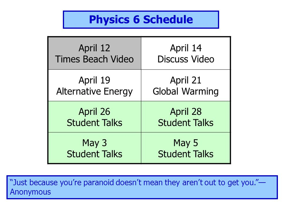 April 12 Times Beach Video April 14 Discuss Video April 19 Alternative Energy April 21 Global Warming April 26 Student Talks April 28 Student Talks May 3 Student Talks May 5 Student Talks Physics 6 Schedule Just because you're paranoid doesn't mean they aren't out to get you. — Anonymous