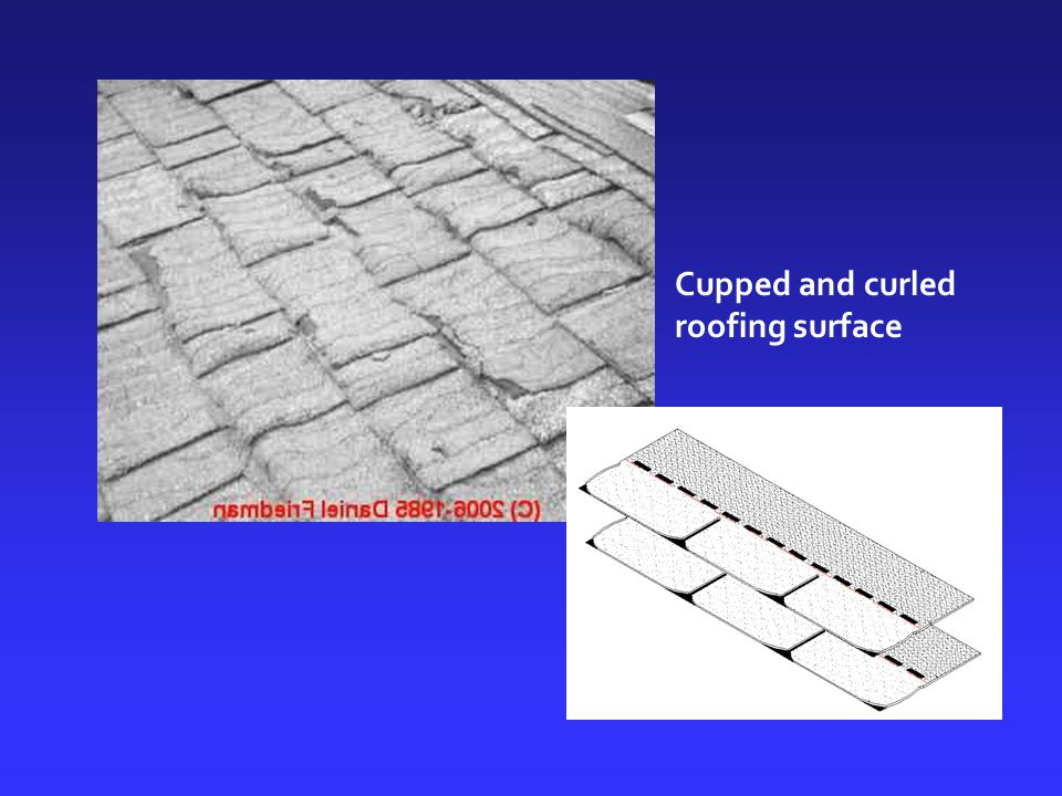 Cupped and curled roofing surface