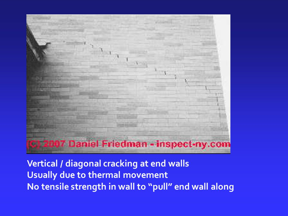 """Vertical / diagonal cracking at end walls Usually due to thermal movement No tensile strength in wall to """"pull"""" end wall along"""