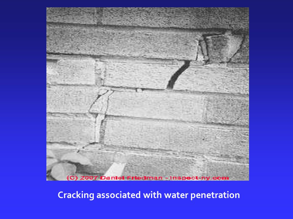Cracking associated with water penetration