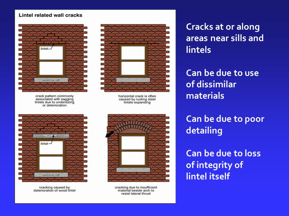 Cracks at or along areas near sills and lintels Can be due to use of dissimilar materials Can be due to poor detailing Can be due to loss of integrity of lintel itself