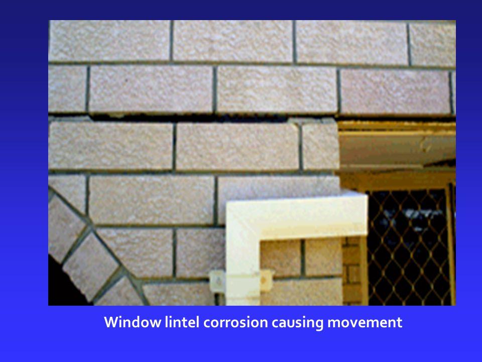 Window lintel corrosion causing movement