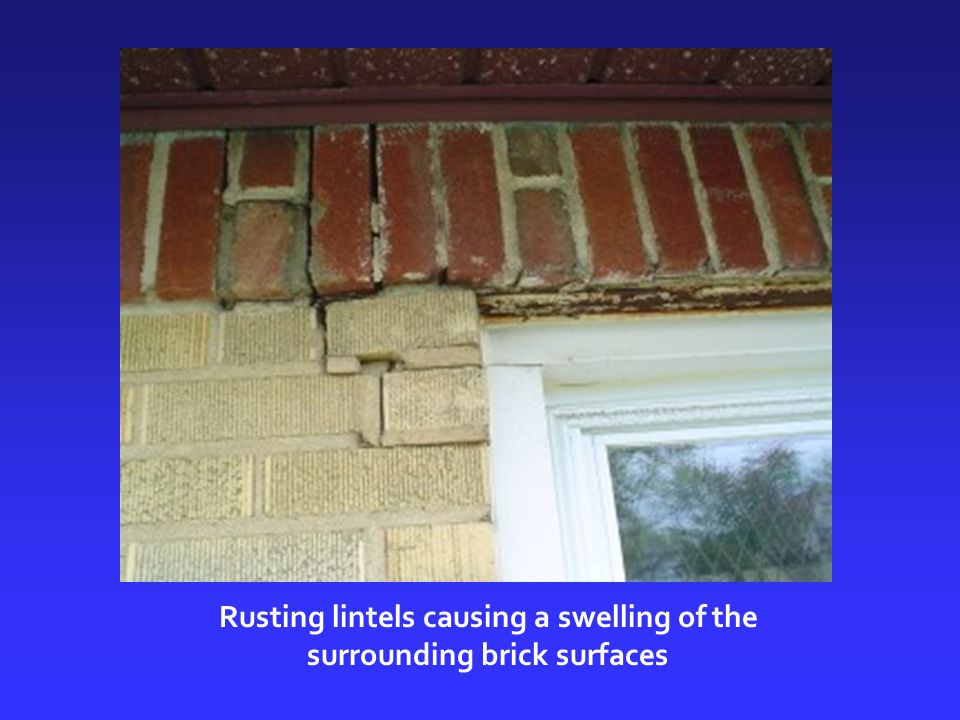 Rusting lintels causing a swelling of the surrounding brick surfaces