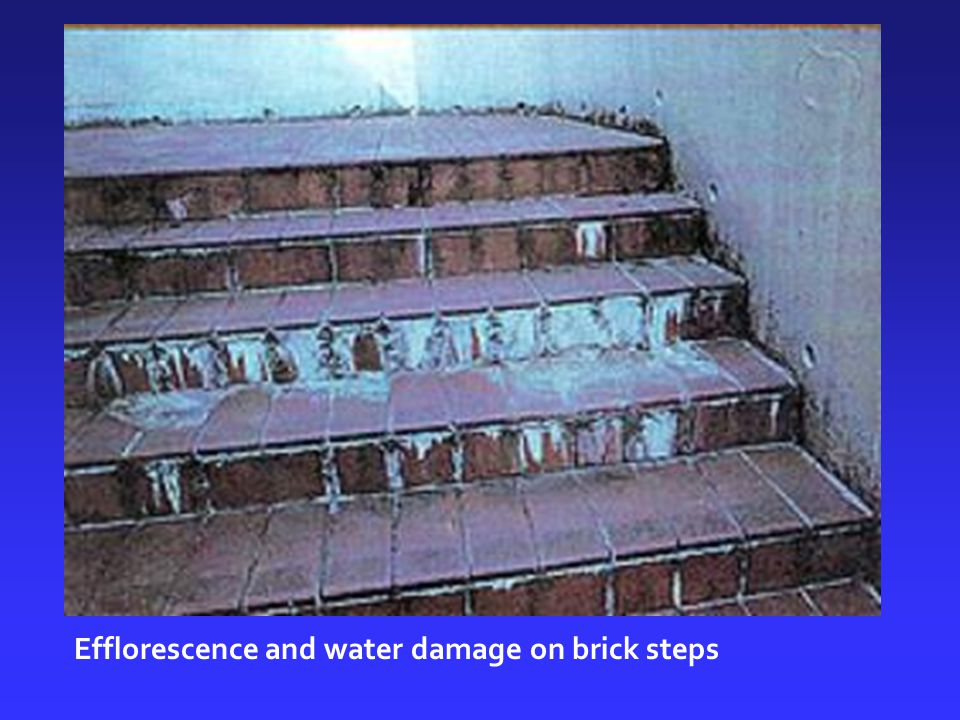 Efflorescence and water damage on brick steps