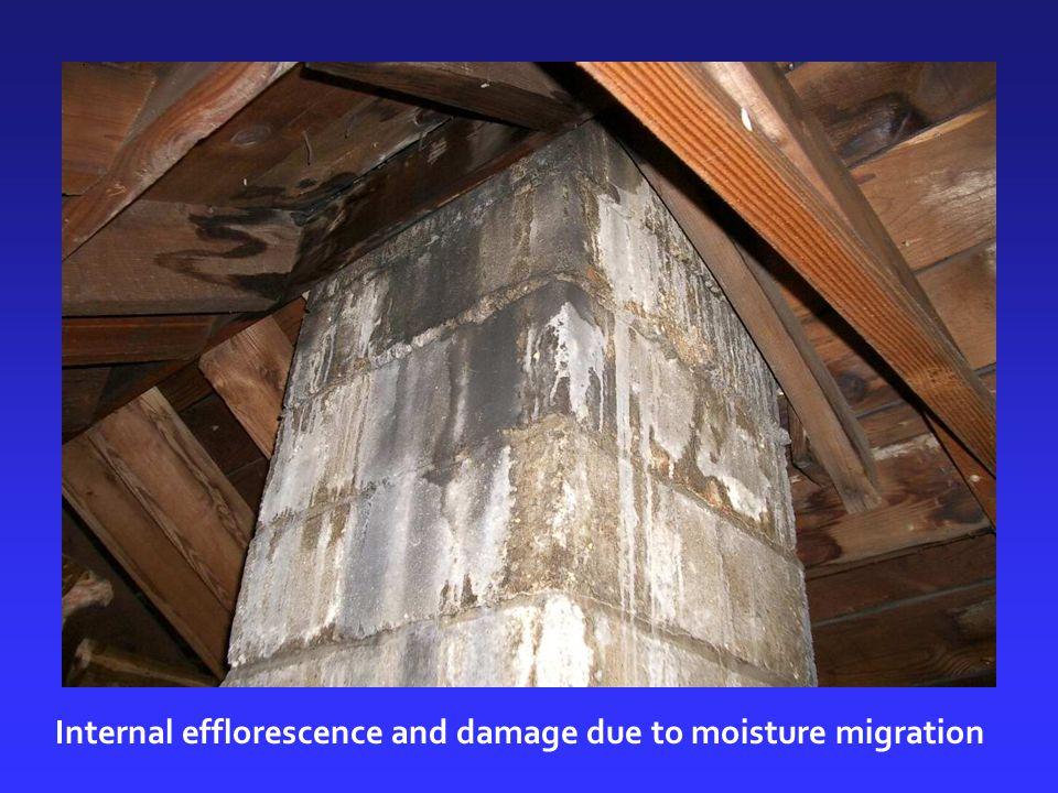 Internal efflorescence and damage due to moisture migration