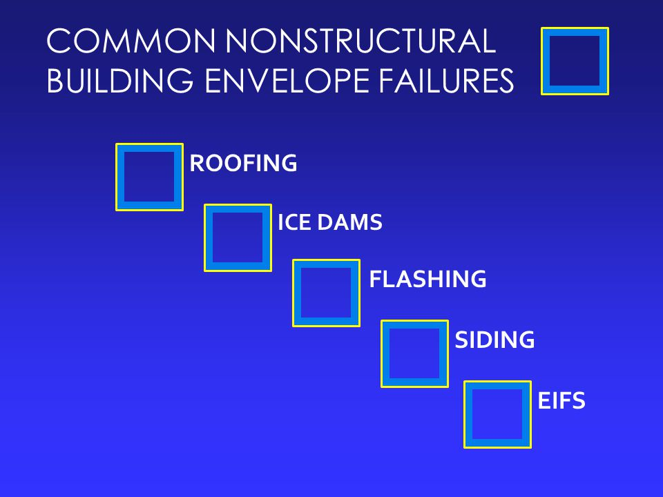 COMMON NONSTRUCTURAL BUILDING ENVELOPE FAILURES ROOFING FLASHING EIFS SIDING ICE DAMS