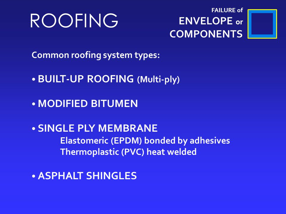FAILURE of ENVELOPE or COMPONENTS ROOFING Common roofing system types: BUILT-UP ROOFING (Multi-ply) MODIFIED BITUMEN SINGLE PLY MEMBRANE Elastomeric (EPDM) bonded by adhesives Thermoplastic (PVC) heat welded ASPHALT SHINGLES
