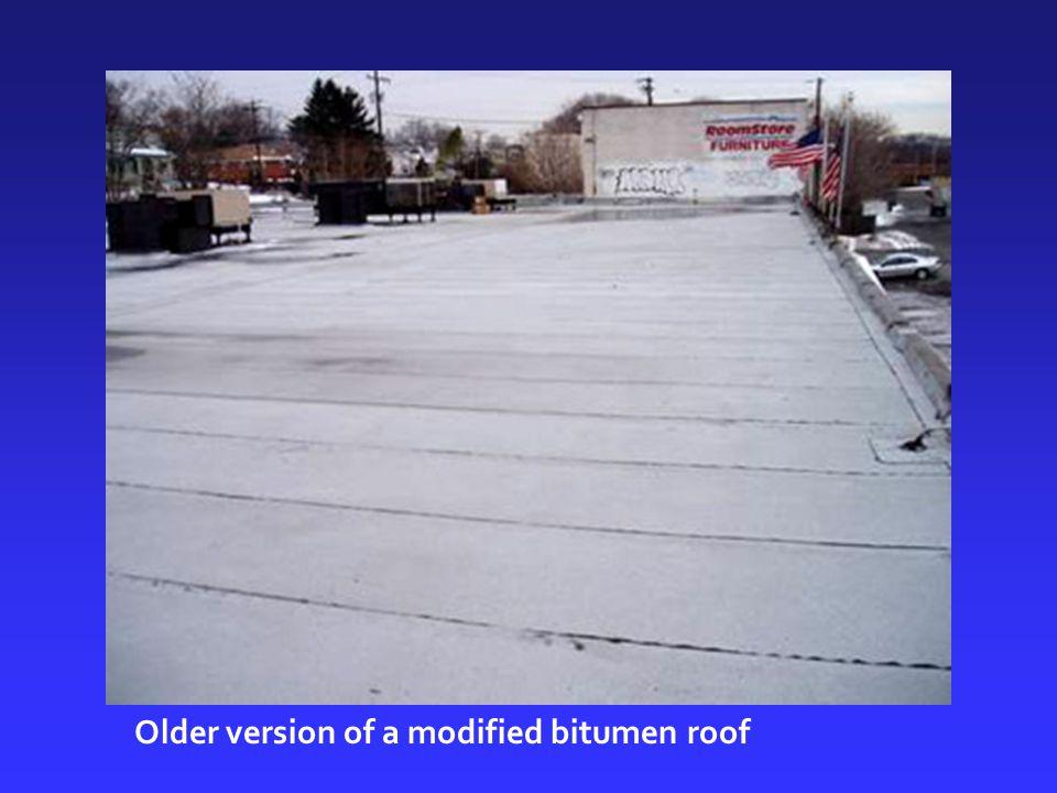 Older version of a modified bitumen roof