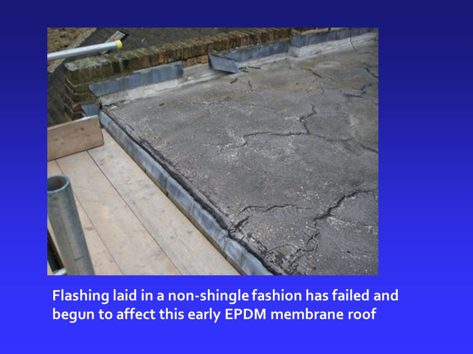 Flashing laid in a non-shingle fashion has failed and begun to affect this early EPDM membrane roof